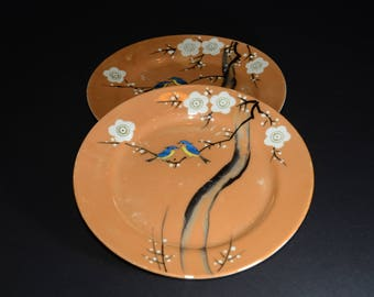 Set of 2, Vintage, OCCUPIED JAPAN, China Hand Painted, lusterware Plate, Blue + yellow Birds on branch,white flowers,Japanese,peach plate,KA