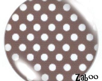 1 cabochon 30mm glass, light gray polka dots
