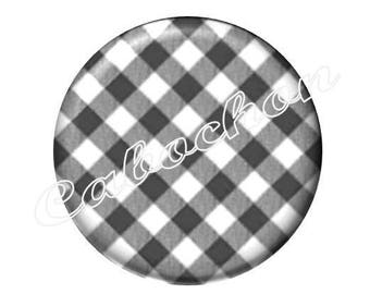 2 cabochons checkered black and white 25mm glass, Just a kiss