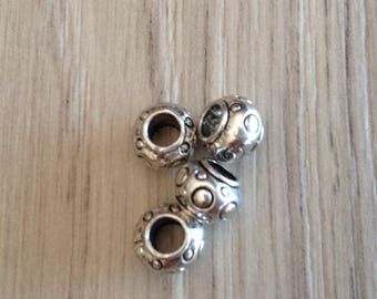 large hole metal beads silver x 4