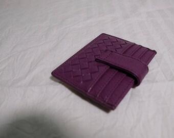 women' soft leather credit card holder - purple color