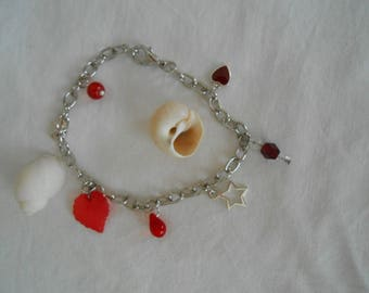 B.13 - Chain Bracelet with charms shades red - silver