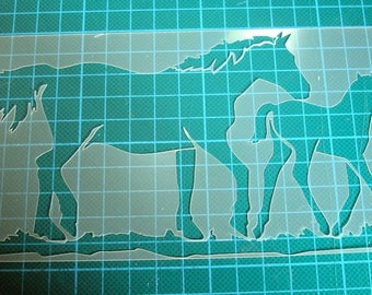 Stenciled horses for your pages, cards, your walls 0122