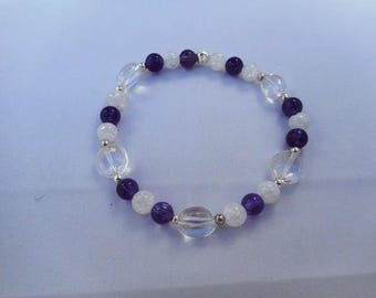 Amethyst rock crystal bracelet