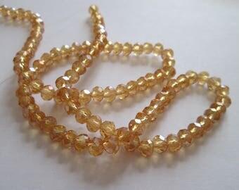 50 perles à facettes en verre champagne 6 x 4 mm
