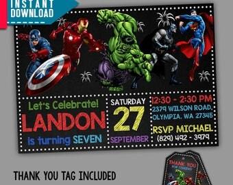 Superhero Invitation Etsy - Superhero birthday invitation free template