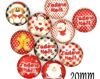 Set of 10 20mm glass, Christmas, ZC93 cabochons