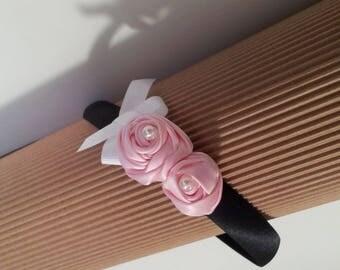 Black satin headband and Ribbon roses
