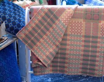 Vintage Welsh Wool Blanket, Pink Colour Way, Welsh Wool Blanket, Welsh Tapestry Blanket, Welsh Wool Mill Blanket, Cottage Chic Blanket
