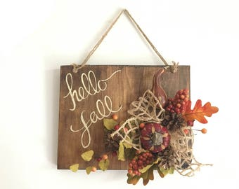 Hello Fall, Fall Sign FREE SHIPPING