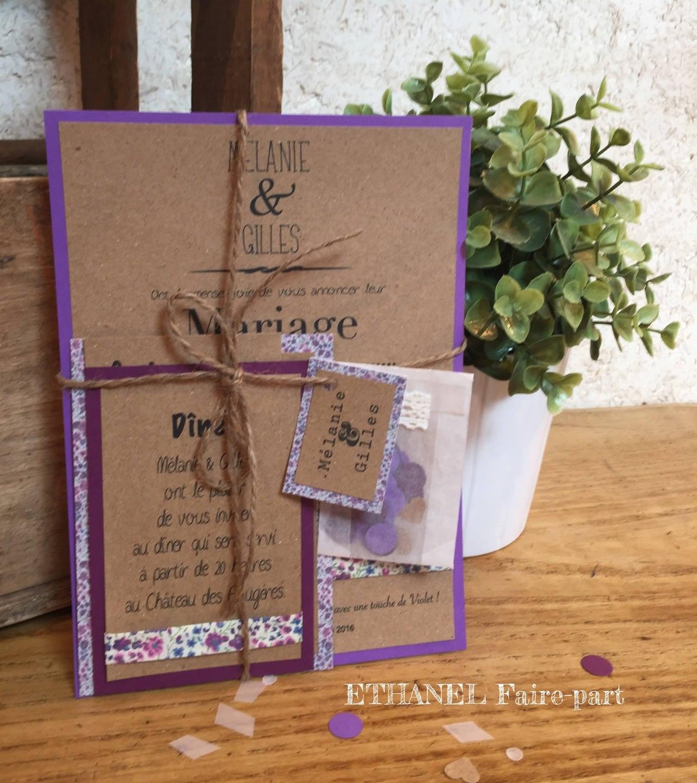 faire part mariage liberty violet. Black Bedroom Furniture Sets. Home Design Ideas