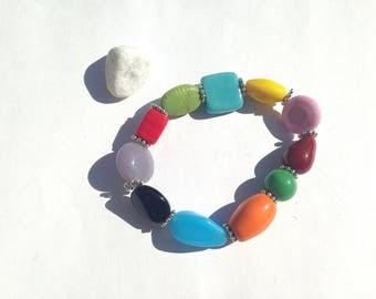 """Joyful"" glass beaded elastic bracelet"