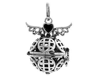 x 1 pendentif cage de Bali Bola Mexicaine motif aile d'ange pour bille d'Harmonie Bébé métal argent vieilli