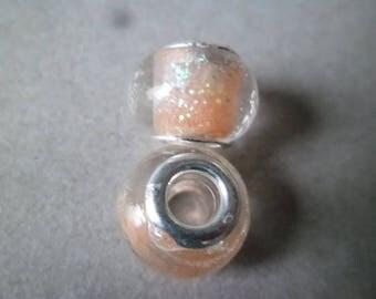 x 2 metal glittery gold lampwork glass beads silver 10 x 14 mm