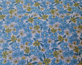 Sky blue, yellow and gray flowers pattern cotton fabric