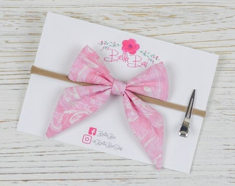 Baby Bow, Baby Headband, Pink Marble Sailor Bow Toddler Size, Breakaway Bow