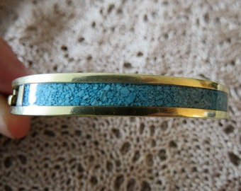 Vintage Alpaca Mexico Gold-Toned Turquoise Inlay Hinged Bracelet  #43