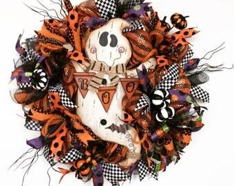 Halloween Deco Mesh Wreath, Ghost Wreath, Halloween Door Decor, Ghost Halloween, Whimsical Halloween Wreath