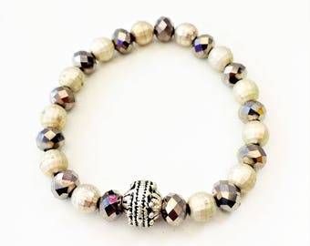 Czech crystals and silver details, stretch bracelet