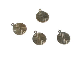 Set of two blackened copper color, light, circles, vintage, metal charms Jewelry Accessories