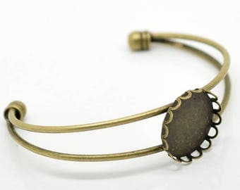Support Bracelet Bronze pr Cabochon 20 mm