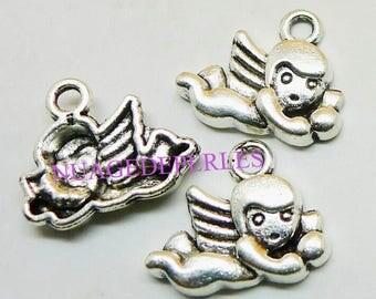 3 Silver Cupid Angel Cherub Tibetan pendant