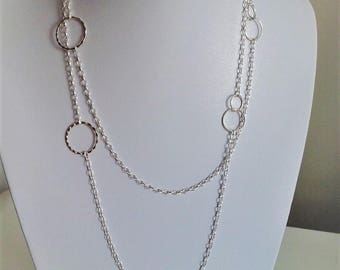 Sterling silver necklace chain and rings