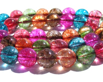 8 tourmalines colorful de 8 mm perles pierres multicolore.