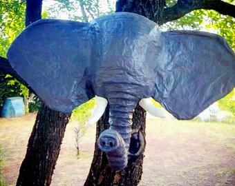 Trophee mural animal / animaux Sculpture en papier mâché Fanfan l'éléphant