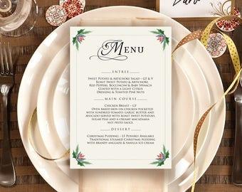 Holiday Party Menu Template Winter Wedding Menu Rustic Holly Menu Printable Winter Dinner Elegant Menu Cards Christmas Menu Editable Menu