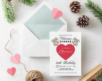Valentine Dinner Birthday Invitation Heart Birthday Printable Invite Valentine Red Heart Cupids Digital Invitation Birthday Party Invitation