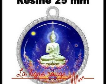 Round Cabochon 25 mm resin pendant, epoxy - Buddha in light blue (855) - zen Buddhism, Buddha