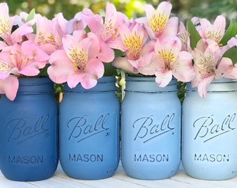 Blue ombré painted and distressed Mason jars. Desk accessories, wedding, baby boy shower, nursery, jars with flowers, mason jar decor, bride