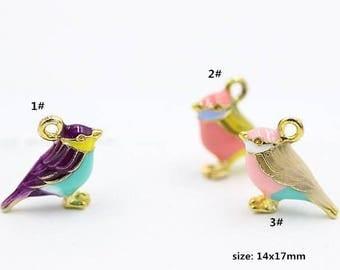 10PCS, 14x17mm, Bird Charms, Enamel Charm, Animal Charm, Jewelry Supplies, Craft Supplies, DIY Findings