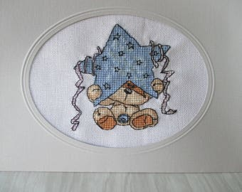 "Custom embroidered ""Baby-Blue Star"" card"