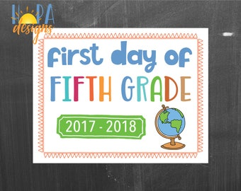 First Day of 5th Grade Sign - 1st Day of School Printable Sign - Photo Props - Fifth Grade Sign - Instant Digital Download - Back to School