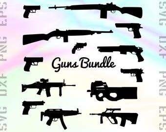 Weapon Gun SVG Files - Gun Dxf Files - Gun Clipart - Gun Cricut Files - Gun Cut Files - Gun Png - Gun Silhouette - Svg, Dxf, Png, Eps