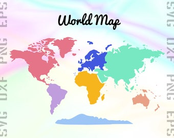 World Map SVG Files - World Map Dxf Files - Continent Clipart - Continent Cricut Files - World Map Cut Files - Svg, Dxf, Png, Eps Vectors