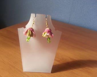 Cold porcelain flowers earrings