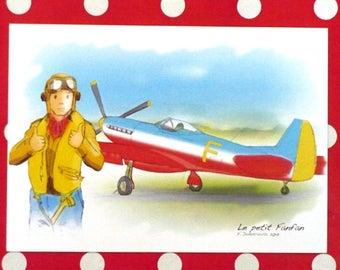 """Card """"The little Aviator Fanfan"""" 10x15cm"""