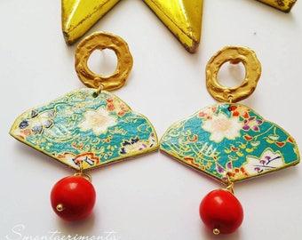 Japanese paper fan Earrings