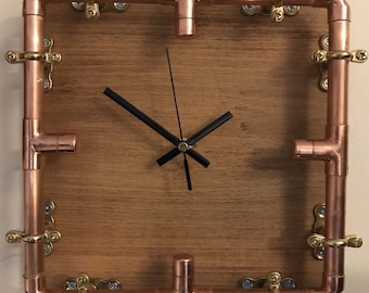 Industrial Copper Pipe Reclaimed Wood Up Cycled Interior Clock