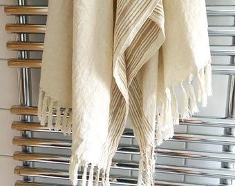 Turkish Hammam Towel, Peshtemal, Fouta  100x200 cm cotton & linen Hand loomed