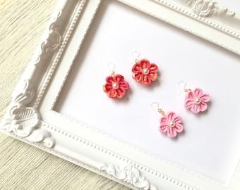 Japan,Japanese  Pattern,Flower,Pink,Cherry Blossom, Sakur, Pearl,Earrings,Resin,Resin Earrings,Fabric,Knobs,Cute,gorgeous,Kimono