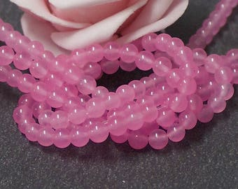 x 40 4 mm pink color PEJ109 dyed jade beads