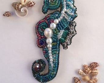 """Bead embroidered brooch """"dreaming of seahorse"""""""