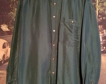Vintage Structure Mens Medium Silk Shirt