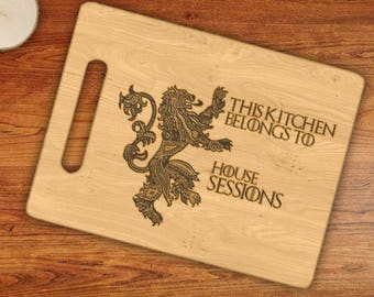 Personalized This Kitchen Belongs To House Custom Name Mormont Griffen Engraved Cutting Board