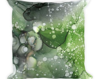 Green Leaves Square Pillow Doublesided