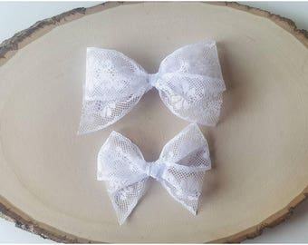 White Charlotte Lace Bow - Handtied Bow - Baby girl - Nylon Headbands - Fabric hair bows/Clips - Infant/Toddler